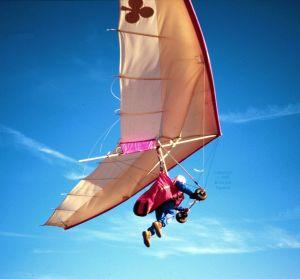 John Midgely launching in a hang glider in Spain in September 1995