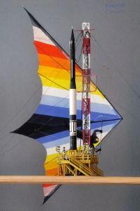 Glencoe Models Vanguard rocket model and hang glider painting