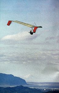 Art based on a photo by Alan Nelson of Bob Thornburg flying an Icarus V in Hawaii