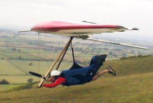 Rigid hang glider launching at Westbury