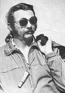 Art based on a photo by Bettina Gray of hang glider pilot, poet, teacher of English, and author W.A. Roecker at Torrey Pines, San Diego, in 1979