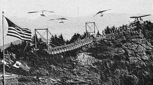 Art based on a photo by Hugh Morton of the 'mile high swinging bridge' at Grandfather Mountain, North Carolina