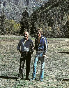 Art based on a photo by Leroy Grannis of Chuck Yeager and Dave Stanfield at Telluride, Colorado, in 1980