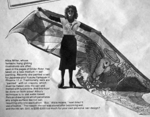 Albia Miller and a painted sail in Glider Rider, February 1979. Reprinted courtesy Ultralight Flying! magazine.