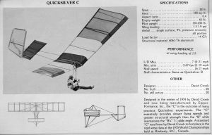 Quicksilver C specifications published in Ground Skimmer, December 1975