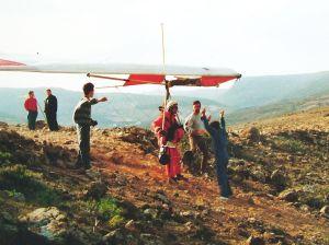 Hang glider preparing to launch at Mala, Lanzarote, 1989