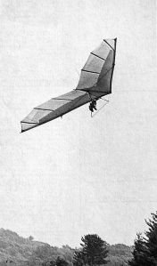 Art based on a photo by Bettina Gray of Tom Peghiny flying a Sky Sports Kestrel hang glider at Mt. Cranmore, New England, in early 1975