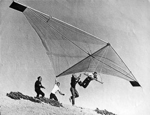 Hang glider at Playa del Rey, 1972, by Bill Allen