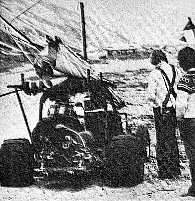 Art based on a photo by Jim Otterstrom of a buggy at the Guadalupe Dune in May 1975