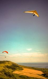 Hang gliding and paragliding at Kimmeridge in 2002