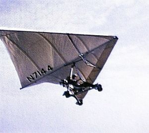 Art based on a photo of Barry Palmer flying a Rogallo trike powered ultralight in July 1967