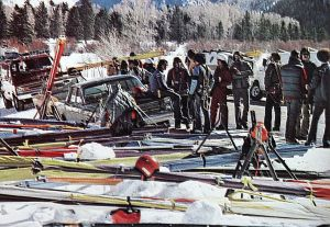 Art based on a photo by David Stanfield of pilots and gliders at Telluride in 1975
