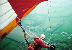 Flying across the Norfolk flatlands by circling in a thermal in 1991
