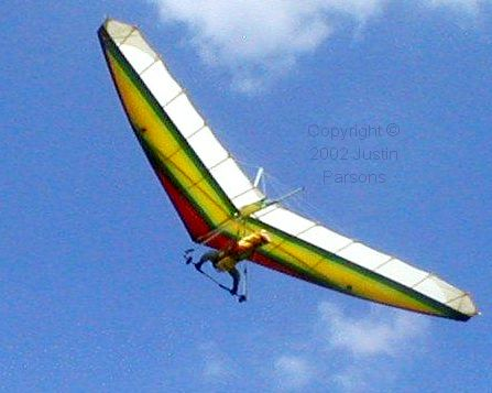 Hang glider in flight viewed from below