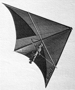 Art based on a photo by Pete Brock of a Brock short-keel standard Rogallo in flight
