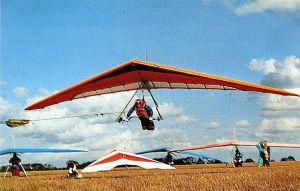 Bob Cogman launches from a flat field in Norfolk, England, in 1993. Photo by Glyn Charnock.
