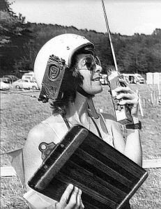 Pionerr hang glider pilot Liz Sharp at the American Cup competition in 1979