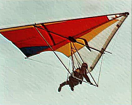 Art based on a photo of Donnita Holland flying her own design standard Rogallo