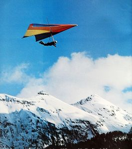 Art based on a photo by Wings Unlimited of a standard Rogallo at Telluride in July 1975