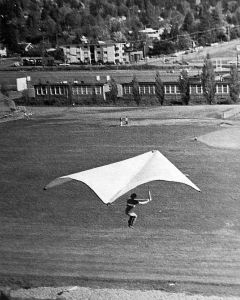 Dick Boone in a home-built standard Rogallo near his college in 1971
