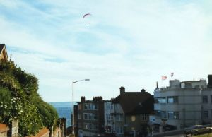 Lone paraglider crossing the Bournemouth gap in 1997