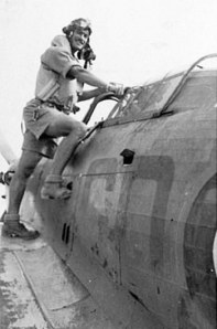 Photo of Terry Prendergast boarding a Hawker Hurricane