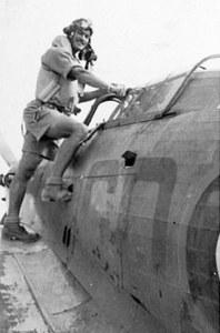 Photo of Terry Prendergast boarding a Hawker Hurricane
