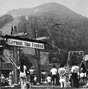 Art based on a photo of the German Alps Festival at Hunter Mountain, New York State, in 1975
