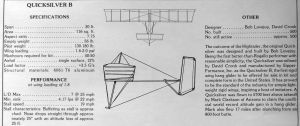 Quicksilver B specifications published in Ground Skimmer, December 1975