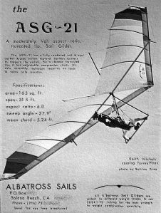 Art based on another Bettina Gray photo of the ASG-21, as used in the 1975 Albatross Sails magazine advert