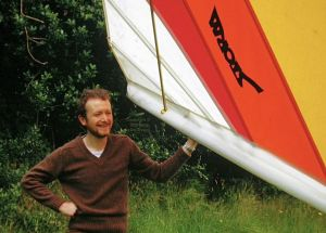 Roly with a Solar Wings Storm in his back garden, 1980