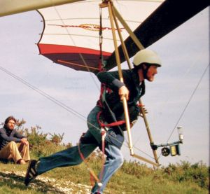 Roly launching in a Solar Wings Storm hang glider from Weymouth White Horse