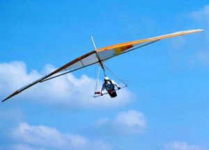 Brian Wood in a Birdman Cherokee hang glider