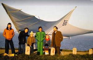 Brian Wood with his SST 90 with Roly Lewis-Evans and grandparents at Herne Bay, England, in December 1977