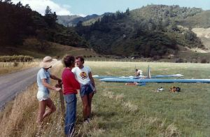 Hang glider landing field in New Zealand