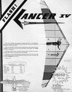 Flight Designs Lancer IV advert in Hang Gliding, May 1979
