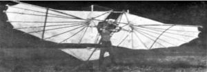 Tony Prentice and his Lillienthal type hang glider, which he flew in 1968