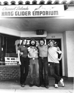 Kammy Low, Gary Bencar, Ken de Russy, and Dave Saffold at the Hang glider emporium of Santa Barbara