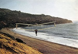 Taras Kiceniuk Jr. designed and built the Icarus 2, flying here at Torrance Beach, Los Angeles County, California