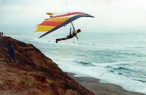 Tom Low in a Seagull 7 Hang Glider at Fort Funston, California, in 1977