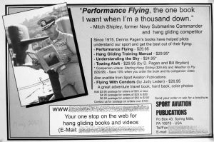 Dennis Pagen's advert in Hang Gliding, May 2001 featuring Mitch Shipley