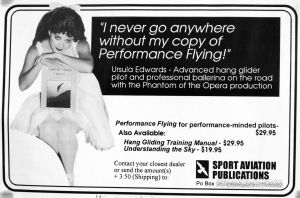 Dennis Pagen's advert in Hang Gliding, June 1997 featuring Ursula Edwards
