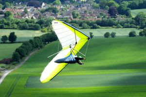 Hang glider at Mere, Wiltshire, England, in June 2020