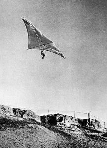 Dave Cronk testing a Cronkite hang glider destined for Switzerland at Torrance Beach