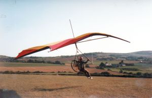 Tony Prentice in a Waspair Falcon 4 with a 90cc back pack engine in 1982