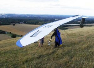 Hellite Tsunami rigid hang glider at Combe Gibbet, Berkshire, England, in 2006