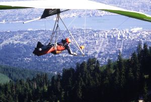 Barry Batman after launching in a hang glider at Grouse Mountain in 1984. Photo by Jan Kulhavy.
