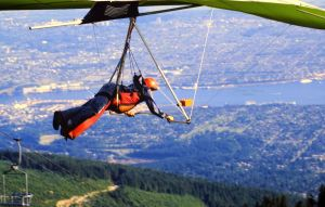 Barry Batman just after launching in a hang glider at Grouse Mountain in 1984. Photo by Jan Kulhavy.