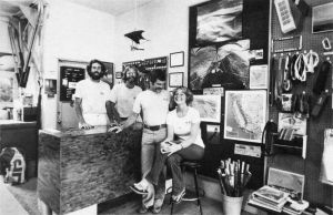 Bob Brown, Jeff Mailes, Ken de Russy, and Bonnie Nelson at the hang glider emporium in Santa Barbara