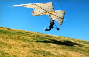 Bob Rouse flight testing his Dimorph pteron hang glider in 1997